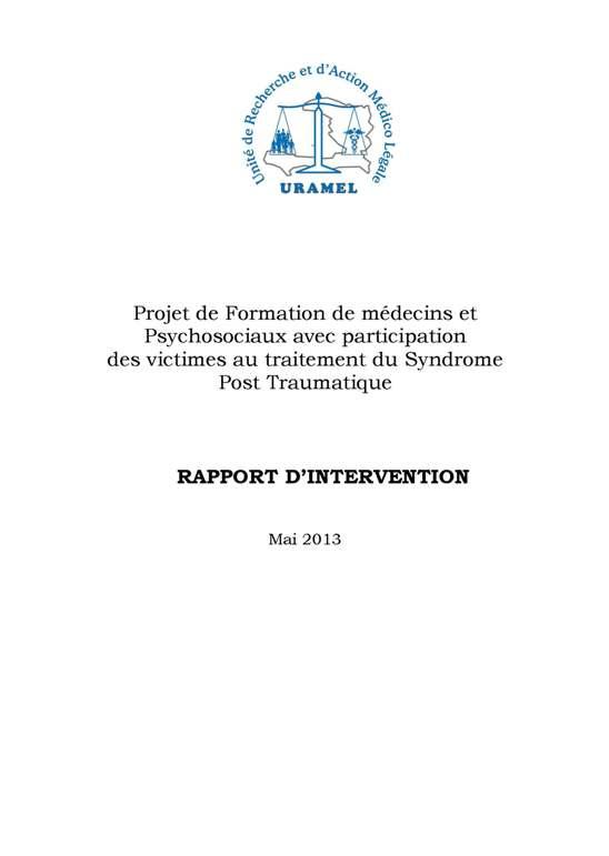 RAPPORT de l'URAMEL (Unité de Recherche et d'Actions Médico-Légales)
