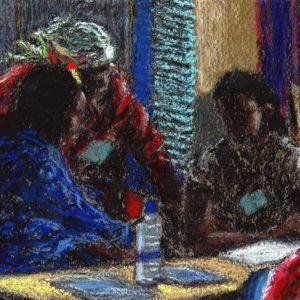 Pastel de Paul Mahoux Peintures-Illustrations réalisé a l'occasion de la formation PTR à Kigali.