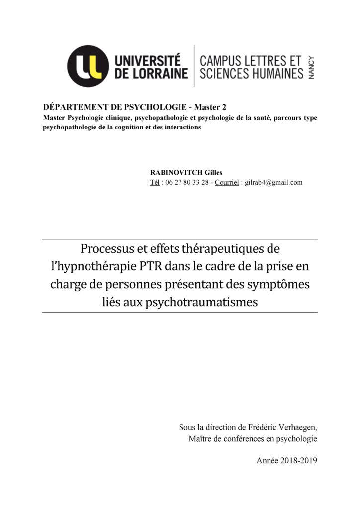 Mémoire de Gilles Rabinovitch - Université de Lorraine